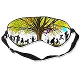 Childhood Scenes Under Colorful Tree Silk Eye Mask with Adjustable Strap,Super Soft Comfortable Night Sleep Mask,Light Blocking Blackout Eye Cover Blindfold for Sleeping Travel Women Men