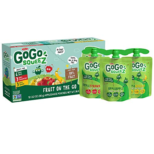 GoGo squeeZ Applesauce, Variety Pack (Apple/Banana/Strawberry), 3.2 Ounce (12 Pouches), Gluten Free, Vegan Friendly, Unsweetened Applesauce, Recloseable, BPA Free Pouches