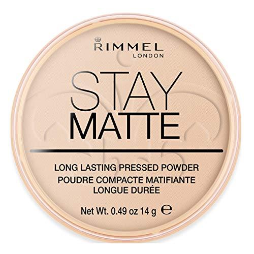Rimmel London Cipria Compatta Stay Matte, Polvere Opacizzante a Lunga Tenuta per Pelli Grasse e Miste, 003 Peach Glow, 14 g