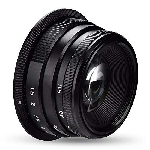 Topiky Lente de Enfoque Manual f1.6 de 35 mm para Canon/Sony/Fujifilm / M4 / 3 Montaje de cámaras sin Espejo Accesorios para Lentes de fotografía(para Canon Mount)