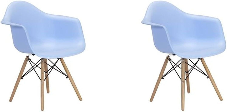 Meubles House S2-PC-0119-LB Mid-Century Modern Eiffel Style Kids Bucket Chair with Chrome Legs (Set of Two), Light bluee