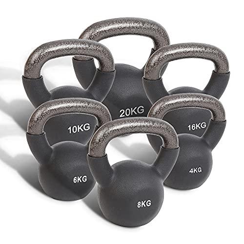 Physioroom Pesa Rusa de Neopreno (4kg - 20kg) - Fácil Agarre, Neopreno Suave - Equipo de Entrenamiento Físico para Gimnasio Hogareño Entrenamiento de Fuerza, HITT, Pesas, Tonificación Muscular