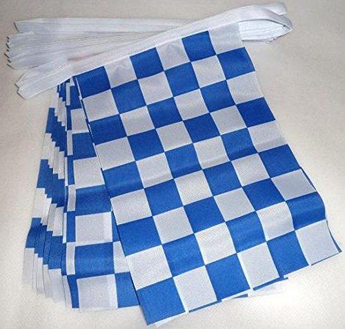 AZ FLAG Guirnalda 6 Metros 20 Banderas A Cuadros Azules Marino Y Blancos 21x15cm - Bandera DE Carreras AUTOMOVILES - Azul Marino Y Blanco 15 x 21 cm - BANDERINES