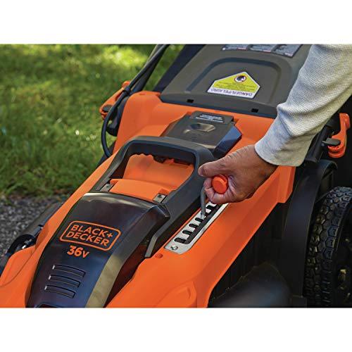 BLACK+DECKER CLMA4820L2-QW Tondeuse sans fil - 7 hauteurs réglables de 38 à 100 mm - 2 Batteries, 36V, Orange, 48 cm