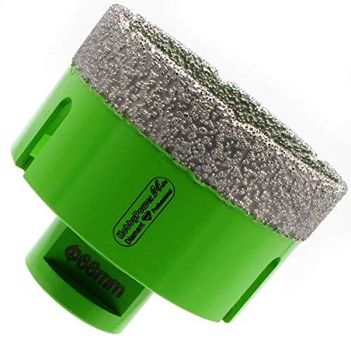 HOBBYPOWER24 Premium Diamantbohrkrone 68mm M14 passend für Winkelschleifer Flex Fliesenbohrer Diamantbohrer für Fliesen, Feinsteinzeug, Marmor, Naturstein, Granit Steckdose