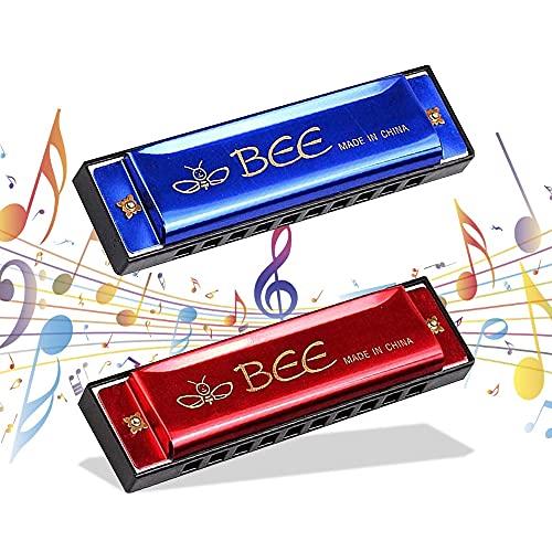 Armonica a Bocca,2 Pezzi Armonica,Armonica Bambini, Blues Harmonic 10 Fori 20 Tonalità, Scala Do Maggiore - 10 Cm, per Principianti e Bambini
