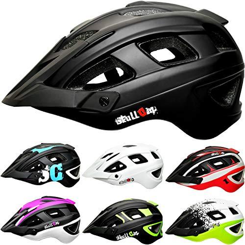 Skullcap® Fahrradhelm & MTB Helm + Visier für Herren & Damen (nightTRAIL, L (59-61 cm))
