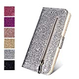 ZCDAYE Wallet Case for iPhone5 5S SE (4.0 inch), Bling Glitter Sparkly Zipper PU Leather Magnetic Flip Folio Card Pockets Holder with Tape Stand Protective Case Cover for iPhone 5/5S/SE - Silver