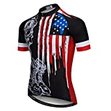 Weimostar Men's USA Cycling Jersey Short Sleeve Biking Shirts Breathable with Pokects Black Size XL