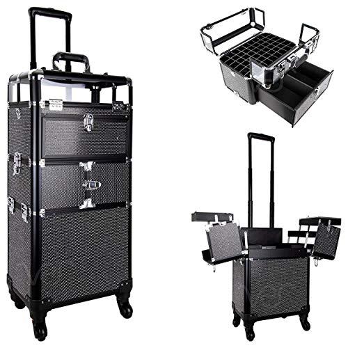 SunRise Professional Rolling Makeup Train Case, Heavy Duty Hair Stylist & Makeup Artist Travel Case with Extendable Trays, Black Krystal (I31064KLAB)