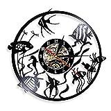 Usmnxo Goldfish Wall Art Reloj de Pared más pequeño decoración del hogar Disco de Vinilo Reloj de Pared vivero decoración de Acuario Reloj de Pared 12 Pulgadas (30 cm) con luz LED