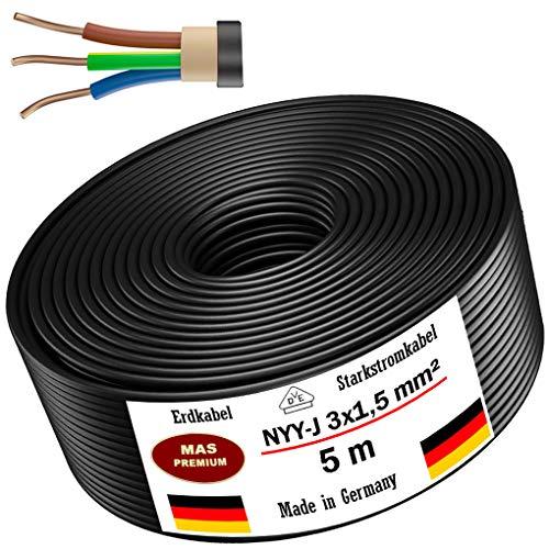 Erdkabel Stromkabel 5m, 10m, 20m, 25m, 50m oder 100m NYY-J 3x1,5 mm² Elektrokabel Ring zur Verlegung im Freien, Erdreich (5m)