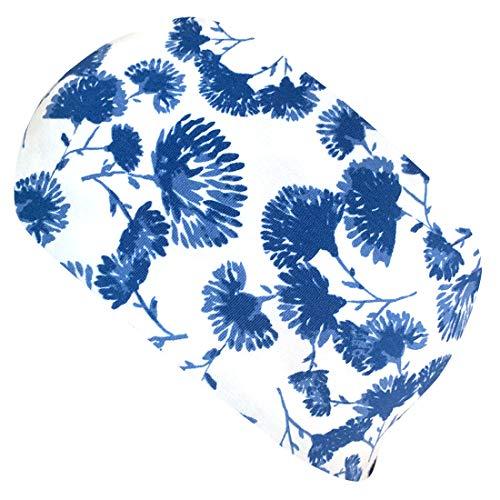 Wollhuhn Cinta elástica para el pelo con diseño de flores, color blanco y azul 20203121