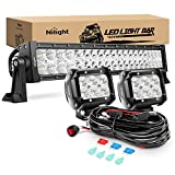 Nilight - ZH004 22Inch 120W Spot Flood Combo Led Light Bar 2PCS 4Inch 18W Flood LED Pods Fog Lights with 16AWG Wiring Harness Kit-2 Leads,2 Years Warranty