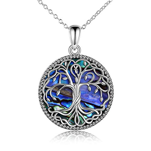 Tree of Life Necklace for Women Sterling Silver Family Tree Alabone Shell Pendant Necklace Celtic Knot Irish Jewelry Gifts for Girls