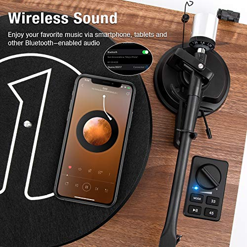 1byone Wireless Turntable HiFi System with 36 Watt Bookshelf Speakers, Patend Designed Vinyl Record Player with Magnetic Cartridge, Wireless Playback and Auto Off