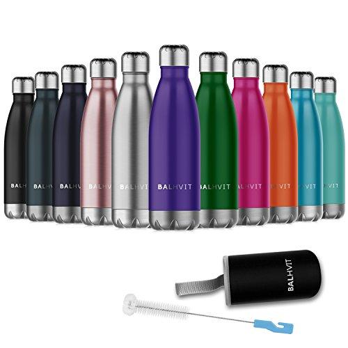 Balhvit Trinkflasche, BPA Frei Doppelwandige Vakuum-Isolierte Edelstahl Wasserflasche, Thermosflasche Halten Kalt/Heiß, Trinkflaschen Sport für Kinder, Erwachsen, Reisen