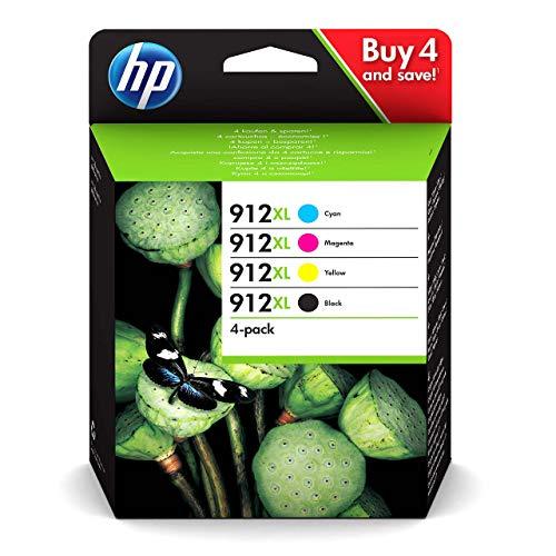 HP 912 XL MultiPack, 3YP34AE, Confezione da 4 Cartucce Originali, ad alta Capacità, da 825 Pagine Ciascuna, per Stampanti HP OfficeJet Pro Serie 8010 e 8020, Nero, Ciano, Giallo e Magenta