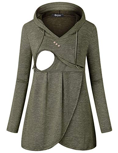 Quinee Nursing Sweatshirts for Breastfeeding, Pullover Hoodies for Women Maternity Shirts Long Sleeve Vneck Thin Layering Autumn Tunic Tops for Leggings Light Olive Green M