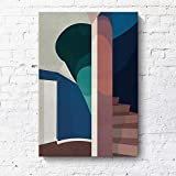 RTCKF Pintura Decorativa Minimalista Moderna geométrica Arquitectura Creativa Paisaje Hotel apartamento Morandi Pintura en Color sin Marco K2 40cmx60cm