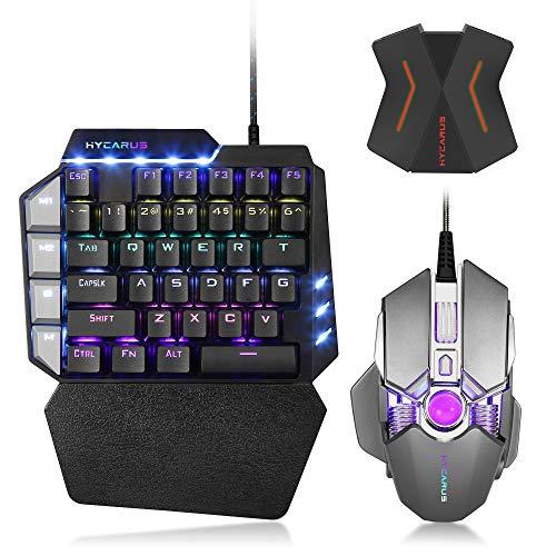 HYCARUS - Teclado mecánico para juegos con una mano y ratón mecánico para juegos con retroiluminación LED RGB, adaptador convertidor de teclado y ratón para Nintendo Switch/PS4/Xbox One/PS3/Xbox 360