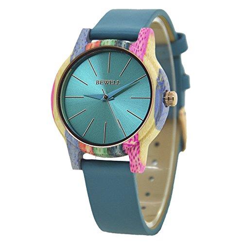 Reloj de madera de las mujeres, el movimiento de cuarzo colorido de madera hecha a mano relojes pulsera desmontable reloj de pulsera (Azul)
