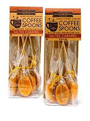 Melville Hand Crafted Naturally Flavored Salted Caramel Coffee Spoons 2 oz (56g) Made with Cane Sugar No Corn Syrup 2 Pack