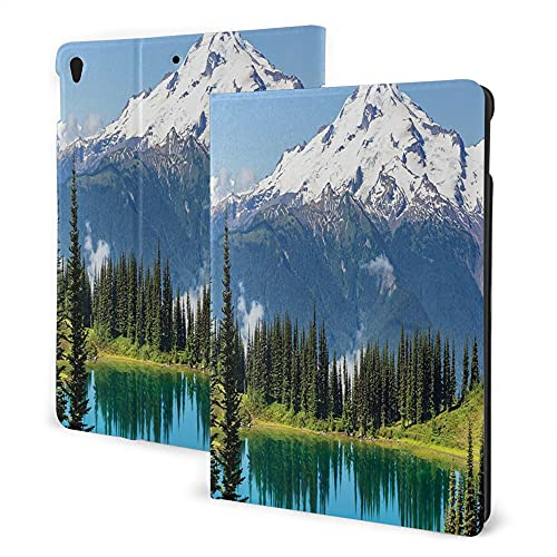 Case For Ipad 8/7 (2020/2019 Model, 8th / 7th Generation), Ipad Air3 & Pro 10.5in Print Theme - Scenery Decor Crystal Clear Lake And Snowy Mountain Peaks Tops Hiking Northern Lands Image Green Blue