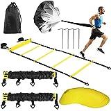 Buluri Scale di coordinazione per- 2 scale di agilità,12 coni a disco, 4 ganci in metallo, 1 paracadute di resistenza, 1 borsa per il trasporto - Attrezzatura da allenamento per allenamento all'aperto