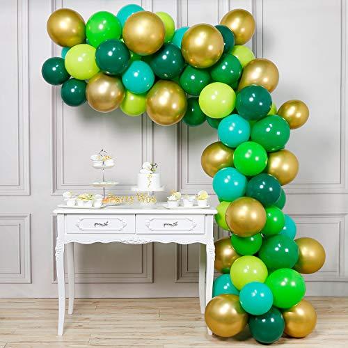 PartyWoo Vert Or Ballon, 70pcs 12 Pouces Vert Foncé Ballon Baudruche Doré Emeraude Ballon Metallisé pour Jungle Party, Reptile Decoration, Decoration Anniversaire Vert, Deco Mariage Or, Deco Bapteme