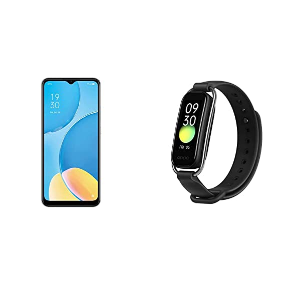 """OPPO A15S (Rainbow Silver, 4GB RAM, 64GB Storage) + OPPO Smart Band Style (Black) - 1.1"""" AMOLED Color Display, SPO2 Monitoring, 5 ATM, 12 Workout modes"""