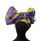2020 Latest African Traditional Headband Head Scarf for Women 100% Cotton Ankara Wax Print Nigerian Gele Headtie (purple)