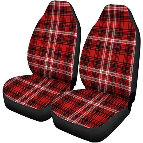 Autostoelhoezen flanel rood wit zwart geruit Kerstmis cabine universele auto stoelbescherming