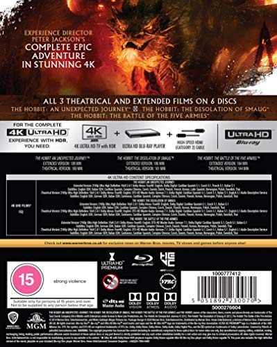 The Hobbit Trilogy [Theatrical and Extended Edition] [4K Ultra HD] [2012] [Blu-ray] [Region Free]