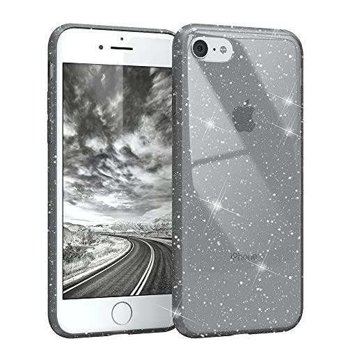 EAZY CASE Hülle kompatibel mit iPhone 7/8 / SE (2020) Schutzhülle mit Glitzer, Handyhülle, Schutzhülle, Back Cover mit Glitter, TPU/Silikon, Transparent/Durchsichtig, Anthrazit