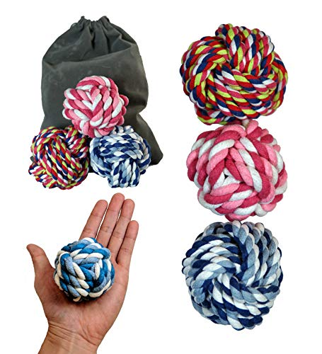 Pet Toys Rope Ball Dog Toy (3-Pack) Colorful and Interactive   Training, Fetch, Tug of War Play   Pure Cotton Fibers Clean Teeth and Gums