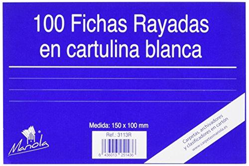 Fichas Cartulina 100X150 Marca Mariola