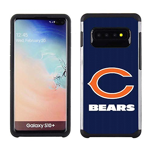 Prime Brands Group Samsung Galaxy S10 Plus - NFL Licensed Chicago Bears Blue Textured Back Cover on Black TPU Skin (NFL-TX1-S10PLUS-BEAR)