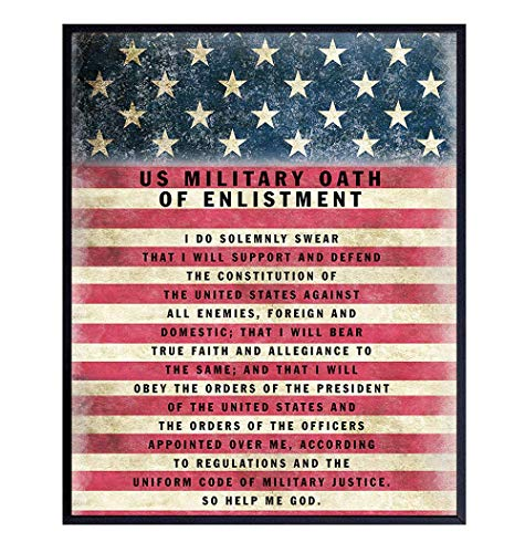 Military Oath of Enlistment - Patriotic American Flag Wall Art Decor, Decoration - Gift for Soldiers, Army, Navy, Air Force, Marines, USMC, Coast Guard, Veterans, Vets-UNFRAMED Poster Print 8x10 Photo