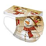 Lulupi 10 Stück Erwachsene Weihnachten Mundschutz Multifunktionstuch Lustig Einweg Weihnachtsmaske Atmungsaktiv Weihnachtsmotiv Mund-Nasenschutz Schneeflocke Schneemann Motiv Maske Tücher Halstuch