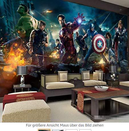 Unbekannt Benutzerdefinierte 3D Tapete Wandbild Cartoon Anime Kinderzimmer Iron Man Hulk Junge Kind Tapete Tapete Wand selbstklebend