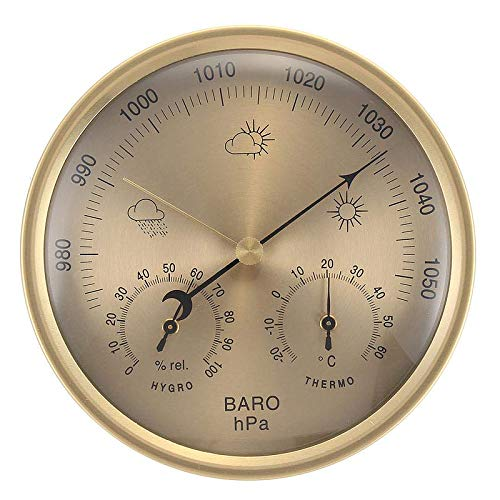 YIGEYI 3 in 1 Wall Hanging Weather Thermometer Barometer Pressure Gauge Hygrometer 132MM The Perfect one for You