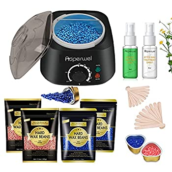 Waxing Kit Auperwel 2021 Dual LED Wax Warmer Upgraded Home Stripless Hair Removal Hard Wax Kit for Body Legs Face Nose Eyebrows Bikini for Women Men Includes 5 Aluminum Bowls 4 Hard Wax Beans
