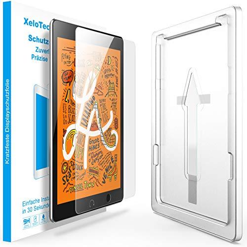 XeloTech Schutzglas 7.9 Zoll passend für iPad 5 Mini und 4 Mini - Panzerfolie, Glasfolie mit Schablone für passexakte Installation - Bildschirmschutzfolie aus Hartglas