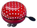 FISCHER Fahrradglocke Maxi |mit Lenkerhaltung | rot mit weißen Pünktchen |One Size |80 mm