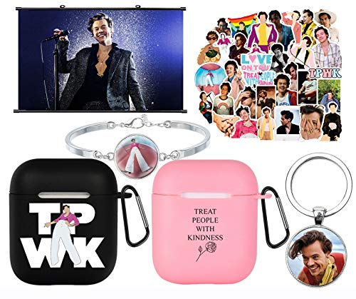 Harry Styles Merch, Harry Styles Charging Case Cover Compatible with AirPod 1&2|Harry Styles Poster|Bracelet Keychain 50 Pcs Stickers for Man, Woman, Teens, Girls, Boys (D)