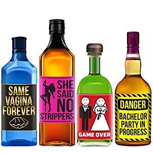 SAME VAGINA FOREVER Bachelor Party Alcohol Labels - Funny Bachelor Party Ideas, Supplies, Gifts, Decorations and Favors - Drinking Game by Sterling James Company