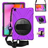 ZenRich Samsung Galaxy Tab A 10.1 Case 2019 SM-T510/T515, zenrich Shockproof Rugged Case with 360 Rotating Kickstand Hand Strap Shoulder Belt for Galaxy Tab A 10.1' SM-T510/T515 -Purple