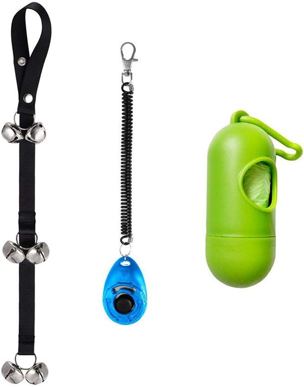 Dog Doorbells for Potty Training,Potty Dog Bells with Dog Training Clicker and Loud Bells Adjustable for Door,Puppy Training,Housebreaking,One Dog Waste Bag Dispenser