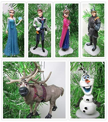 Disney Frozen Christmas Tree Ornament Set Featuring Anna, Elsa, Kristoff, Olaf the Snowman and Winter Ornament, Ornaments Average 2' to 3' Tall